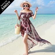 【Anniyo安妞】一字領平口露肩短袖波希米亞海灘度假印花雪紡沙灘裙長裙連衣裙長洋裝 紫褐色