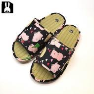 台灣製 透氣舒適室內草蓆拖鞋-小豬黑25cm
