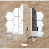 Glass Stickers WALLPAPER Wall Mirror HEXAGON TEMPEL Wall Decoration Contents 7PCS