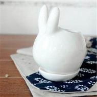 กระต่ายจิ๋วเซรามิคกระถางดอกไม้สำหรับปลูกไม้อวบน้ำ Porcelain จานรองกระถางอุปกรณ์ตกแต่งสวน