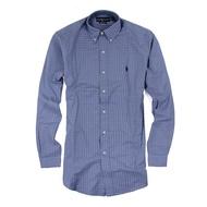 美國百分百【Ralph Lauren】長袖 襯衫 RL 男 POLO 小馬 格紋 上衣 藍色 白色 M號 F155