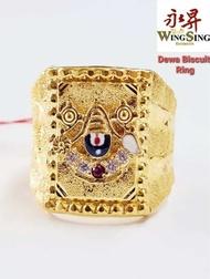 Wing Sing 916 Gold Balaji Dewa Biscuit Ring / Cincin Biskut Balaji Dewa Emas 916