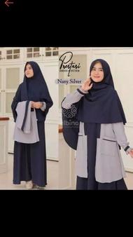 Elbina gamis set,(size s,m,l,xl,) gamis plus auter,no hijab