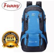 Funny.Shop Huwai 60 L กระเป๋าเดินทาง ใหญ่ ที่สุด ขนาด จุสะใจถึง 60 ลิตร เป้สะพายหลัง เหมาะสำหรับสวมใส่เดินทาง ของแท้ 60L Waterproof Outdoor Backpack Rucksack Sports Hiking Climbing Travel Shoulder Bag Pack Mountaineering Bag HIKING