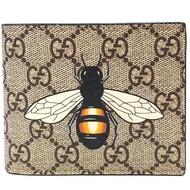 【GUCCI 古馳】451268 經典雙GG Supreme蜜蜂印花摺疊短夾(棕色)