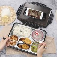 加大款 北歐304不鏽鋼分格便當盒 餐盒 保溫飯盒 餐盤(附餐具+湯碗+變當袋)