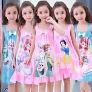 裙子冰雪奇緣睡衣女童睡裙短袖薄款小女孩卡通韓版兒童家居服