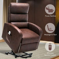 Orimoster Power Lift Recliner Chair with Massage and Heat for Seniors Chocolate, Ergonomic Electric Small Suede Leather Elderly Reclining Lift Chair with Remote, USB Port and Side Pocket