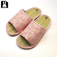 台灣製 透氣舒適室內草蓆拖鞋-花卉粉25cm