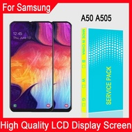 6.4'' inch Super AMOLED Samsung Galaxy A50 A505 SM-A505F/DS A505F A505FD A505A LCD Display Touch Screen Digitizer Assembly For A50 LCD With Frame Replacement