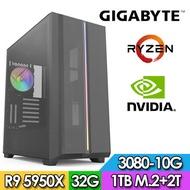 技嘉X570平台【日天騎士】R9十六核獨顯電玩機(R9-5950X/32G/2TB/1TB_SSD/RTX3080-10G)