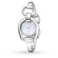Gucci 古吉YA139506真鑽經典馬銜手環時尚腕錶/白貝面28mm