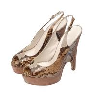 【GUCCI 古馳】蟒蛇皮楔型魚口高跟鞋(米X棕色234868-9199)