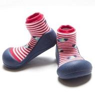 韓國【Attipas】快樂腳襪型學步鞋-藍底飛碟 M【紫貝殼】