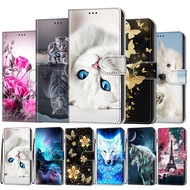 Leather Case Samsung Galaxy A51 Flip Case Cover Samsung A51 A515F Cover Wallet Cute Anime Cat Flower Book Phone Cases