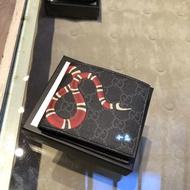 Gucci 古馳 六卡短夾 451268 珊瑚蛇印花高级人造帆布钱包