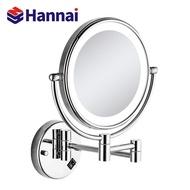 帶燈LED化妝圓鏡 酒店浴室衛生間壁掛折疊伸縮美容鏡補光梳妝鏡子