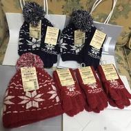 聖誕帽 毛帽 無印良品《日本製》質感超好 彈性好 聖誕節 雪花版 帽子手套組 紅色手套 藍色手套無敵可愛