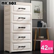 【Mr.Box】42面寬-鄉村風歐式五層抽屜式收納櫃-附輪(北歐風)