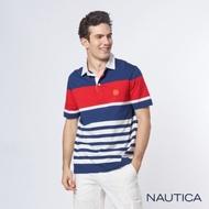 Nautica經典撞色條紋短袖POLO衫-紅藍