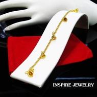 Inspire Jewelry สร้อยข้อมือทองห้อยตุ้งติ้ง ลายกระดิ่งตอกลาย ยาว 16 cm. ลายโบราณ อนุรักษ์ไทย สวยงามมาก ปราณีต ราคาประหยัด ใช้ตกแต่งเสื้อผ้าไทย หรือใส่ประดับ ผ้าซิ่น ผ้าถุง