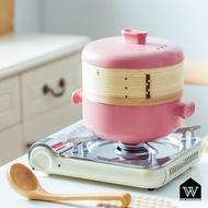 【好物良品】日式蒸籠陶瓷耐高溫砂鍋 多用途多層蒸鍋蒸饅頭燉飯燉菜燉湯 - 顏色 2.5L