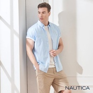 【NAUTICA】修身小格紋短袖襯衫(藍色)