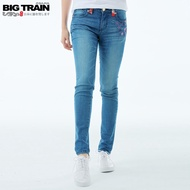 BIG TRAIN 中腰流水紫櫻窄管9分褲-中藍