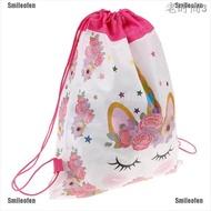 【CW】 Smileofen Unicorn กระเป๋าเดินทางแบบหูรูดกระเป๋าเก็บของเป้เด็กนักเรียนวันเกิดของขวัญ