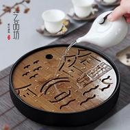 茶盤 陶瓷小茶盤功夫圓形乾泡臺茶具家用儲水茶臺茶海簡約日式迷你托盤ATF