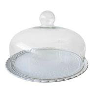 WHITE CERAMIC PLATE BASE WITH GLASS CLOCHE