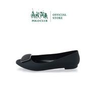 POLO CLUB รุ่น P1876 รองเท้าคัชชูยาง รองเท้าทรงบัลเล่ต์ หัวแหลม ส้นแบน สีดำ