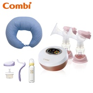 [MKCs]Q3(現貨有發票) Combi 自然吸韻 雙邊 電動 吸乳器 贈哺乳靠墊、手動配件組、標準玻璃奶瓶240ml