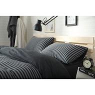日式天竺棉系列~MUJI無印良品風 純棉簡約碳黑色中條紋雙人床包被套4件組-吸汗/透氣/舒適~PicHome 挑 家居