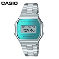 【CASIO】A168WEM-2 復古造型電子錶/經典百搭/男女通用款/36mm/銀x鏡面藍/公司貨【第一鐘錶】