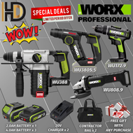 WORX 20V SUPER COMBO SET PACKAGE 4 IN 1 WU388 Rotary Hammer & WU808.9 Angle Grinder & WU380S.5 Rotary Hammer  & WU172.9 Cordless Drill