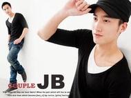JB 專業衣廠 【H3001】韓版修身剪裁/V領假2件素面五分袖T/簡約率性/穿搭皆宜/台灣製造MIT