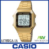 นาฬิกาผู้ชาย Casio รุ่น A-178WA-1A สายสแตนเลส สีเงิน ของแท้100% ประกันศูนย์ CASIO 1 ปี จากร้าน MIN WATCH