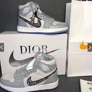 【Original Latest】 READY STOCK Dior X Nike Air Jordan 1 High Men Women Basketball Sneakers running shoes