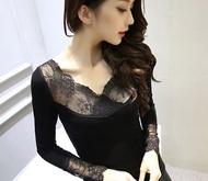 Modem Girl♥韓國 保暖 好質感 內里水貂毛 彈性V領蕾絲發熱美體衣 (特價)
