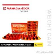 dog●Appetason Vitamins (Vitamin B-Complex + Iron + Buclizine HCI) for 30 Days - 30 Capsules
