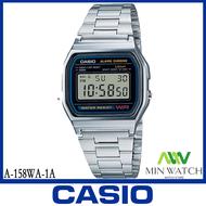 《ลดล้างสต๊อก》นาฬิกา รุ่น Casio DIGITAL นาฬิกาข้อมือ นาฬิกาผู้หญิง สายสแตนเลส รุ่น A-158WA-1 ของแท้100% ประกันศูนย์CASIO 1 ปี จากร้าน MIN WATCH