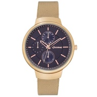 【LICORNE】力抗錶 知性高雅三眼手錶(玫瑰金/藍 LT144LRNI)