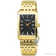 【CITIZEN】星辰方形石英金色鋼帶錶-黑面 / BH1673-50E