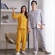 Couple Pajamas for Men Women Sleepwear Sets Double-layer Cotton Surface Is Wrinkled and Textured