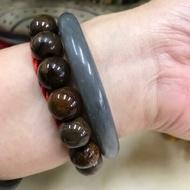 (附台證)18.5圍煙灰、煙紫圓骨鐲,天然和田玉 和闐玉平安鐲,手鐲手環