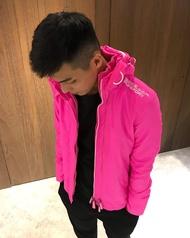 美國百分百【全新真品】Superdry 極度乾燥 風衣 連帽 外套 防風 夾克 刷毛 桃紅/白 男/女 短大衣 F855