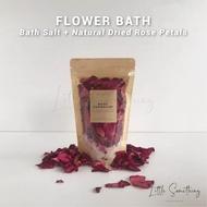 Handmade Dried Flower Bath Salt 250g Lavender Rose Geranium Lemongrass Palmarosa Ginger Epsom Himalayan Natural Relaxation Foot Bath Soak Aromatherapy Gift Valentine