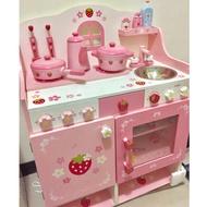 ﹝二手﹞送增高架,日本Mother Garden 野草莓粉緞鑄鐵鍋廚房組