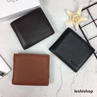 COACH短夾 F74991 男款小牛皮短夾 素色壓紋真皮皮夾 零錢夾 男士錢包 男生證件夾包包